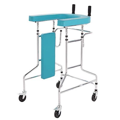 HTL Caminar Ayuda Médica Instrumentos Auxiliares Walker por Los Mayores Pies Muletas Cuatro con Ruedas con Amortiguadores Pueden Empujar Luz Plegable de Doble Uso Walker,Azul