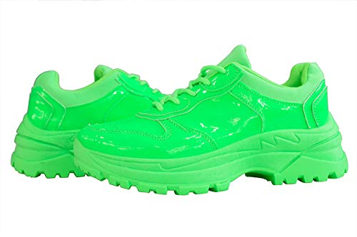 LUCKY-STEP Women Casual Leather Sneakers Stylish Non-Slip Sports Walking Shoes Workout Fuchsia/Orange/Yellow/Green Shoes for Women (Green,7 B(M) US)