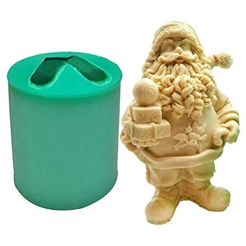 Fovor 2020 Christmas Decoration Gift, Christmas Santa Claus Resin Silicone Mold 3D Santa Claus Silicone Mold Reusable Epoxy Resin Mold for DIY Figurine Crafts