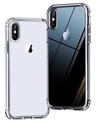 ONES 全透明 iPhone Xs/X ケース 耐衝撃 エアバッグ 超軍用規格 軽い 美しい 黄変防止 〔光沢感·頑丈なPC背面+柔軟なTPUバンパー〕〔すり傷防止、滑り止め、持ちやすい〕 Qi充電 カバー