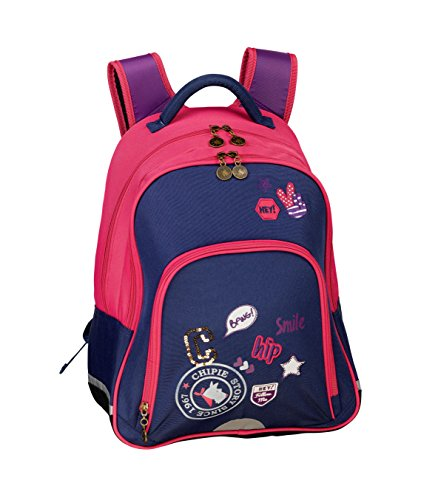 CHIPIE CHIPIE PATCH Mochila escolar, 41 cm, Azul (Bleu/rose)