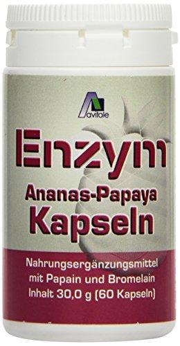 Avitale Enzym Ananas Papaya Kapseln, 60 Stück, 1er Pack (1 x 30 g)