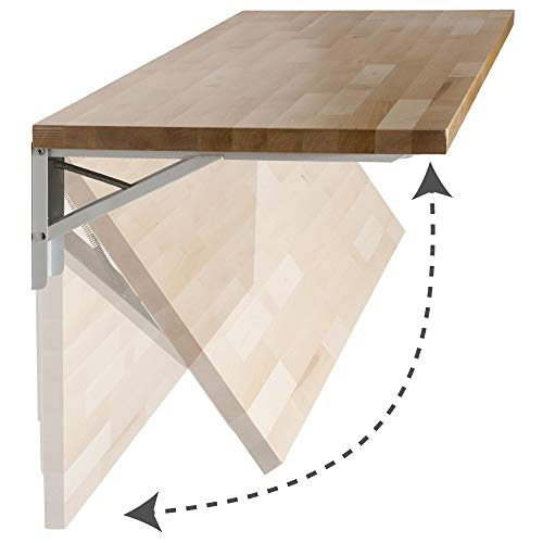 """The Quick Bench folding wall mounted workbench with 20"""" x 48"""" collapsible butcher block solid wood top Clear UV Finish or Unfinished"""