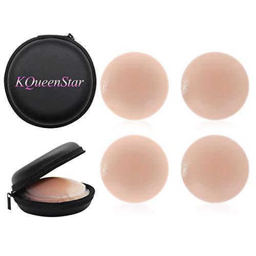 KQueenStar Nipple Cover - Silikon Nippelabdeckung Gel Brustwarzenabdeckung Selbstklebend & Wiederverwendbar Brust Aufkleber unter BH, M, Farbe C Pairs Round