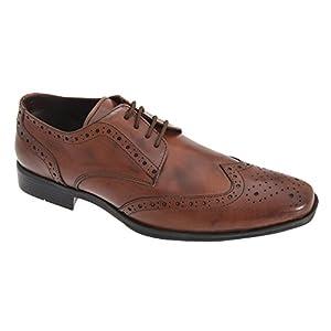 Route 21 - Zapatos Gibson con Acentos y Suela PVC para Hombre (44 EU/Marrón Tostado)