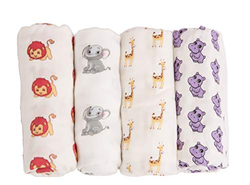 Classic Swaddle Baby Blanket, 100% Cotton Muslin Large 47 x 47 inch, 4 Pack Safari Theme Elephant/Lion/Hippo/Giraffe, Baby Infant Toddler, Pre-Washed Super Soft 100% Organic