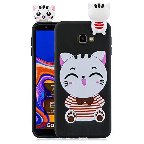 HongYong. Compatible avec Coque Samsung Galaxy J4 Plus (2018)/J415. Chat noir Kawaii Drole Fantaisie 3D Motif Dessin Etui Case Premium TPU Ultra Fine