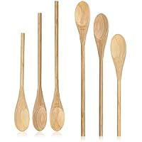 com-four® 6 cucchiai da cucina in legno in tre diverse misure - set di cucchiai in legno per cucinare - cucchiaio da cucina in legno (006 pezzi - legno - marrone)
