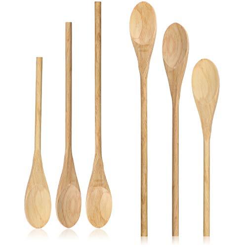 COM-FOUR® 6 cucchiai da cucina in legno in tre diverse misure - set di cucchiai in legno...