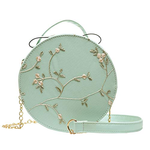 Liraly Women's Round CrossBody Zipper Shoulder Bag Faux Leather circle quilted purses and handbags with flower embroidery Satchel