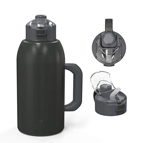 Zak Designs Genesis with 2-In-1 Lid and Leak-Proof Design Double-Wall Vacuum-Insulated Stainless Steel Water Bottle, Includes Handle and Portable Carry Strap (64oz, Charcoal, 18/8 SS, BPA-Free)