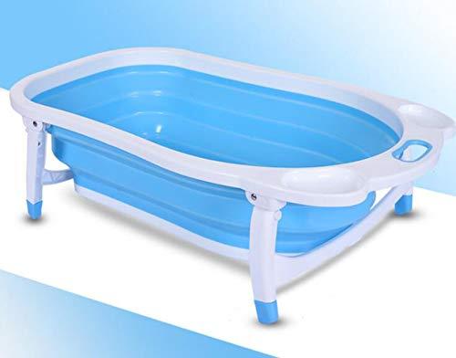 JBHURF Babywanne Faltbare Temperaturänderung Badewanne Kinder Badewanne Dusche Becken großen dicken kann Neugeborenen Baby-Lieferungen sitzen (Farbe : Blau)