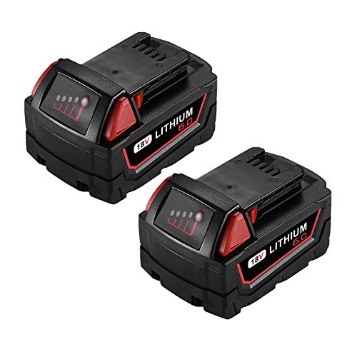 Powerextra 18V 6.0AH Replacement Battery Compatible with 48-11-1852 M-18 Lithium XC 6.0 Ah M18B 48-11-1850 48-11-1852 48-11-1820 M-18 Battery 2Pack