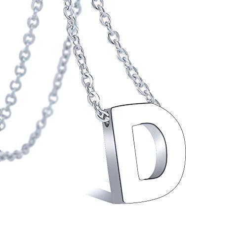 VU100 Collar Inicial D para Mujer Niñas Colgante Letra de Acero Inoxidable Plata, 45cm Cadena Cuerda