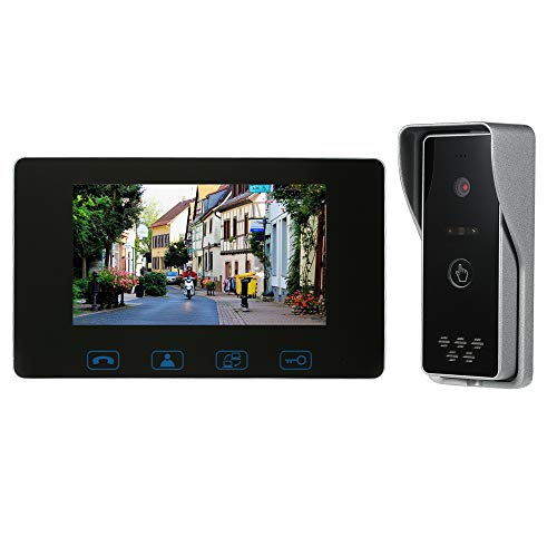 OWSOO 7' Videoportero Cableado Intercomunicador de Vídeo Sistema de Interfono Soporte Desbloqueo de Monitoreo Intercomunicador de Doble Vía Impermeable 16 Tonos Volumen/Brillo/Contraste Ajustable