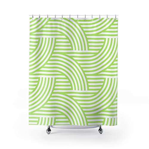DKISEE Deco Style Wave Pattern Fresh Green Custom Design Fabric Shower Curtain 71x71 inches