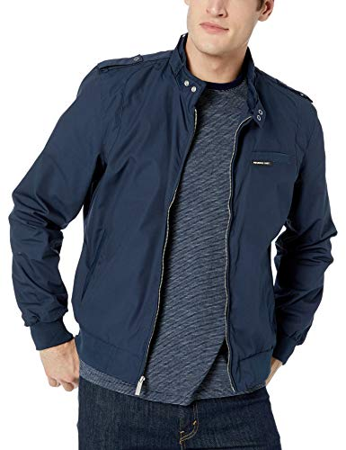 Members Only Men's Original Iconic Racer Jacket, Navy, S