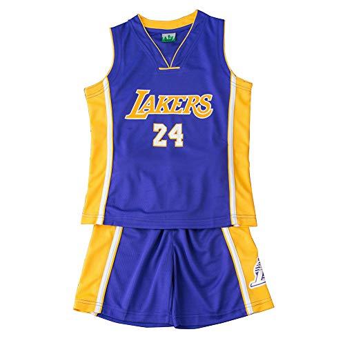 Lakers #24 Kobe Kinder Basketball Trikots Set, Shorts für Jungen und Mädchen Fan Shirt Weste ärmellos, blau, XXL(160