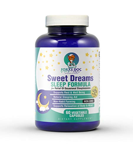 Melatonin Sleep Supplement with GABA, 5-HTP, L-Theanine - Sweet Dreams – All Natural for Restful Sleep by Dr. Valerie Nelson