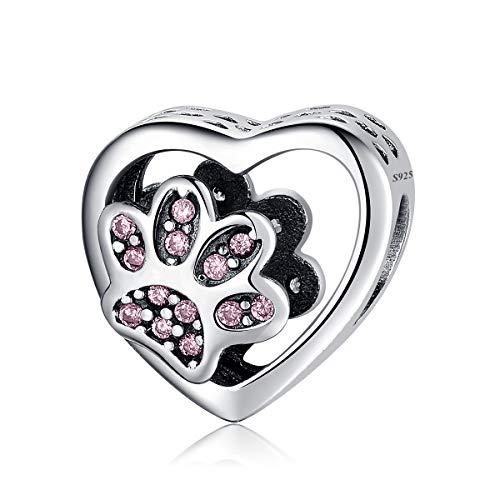 Charm e bead, zampa di cane impronte di perline argento placcato animale animale domestico fascino incanta Pandora Charms bracciali Gioielli per donne