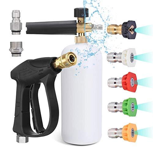 Selkie Schaumpistole, Schaumkanone Blaster mit 1/4 Zoll Schnellanschluss mit 5 Stück Hochdruckreiniger-Düsenspitze, M22-14 mm und 3/8 Zoll Schnelleinlass-Anschluss, Strahlwaschpistole 4350 PSI