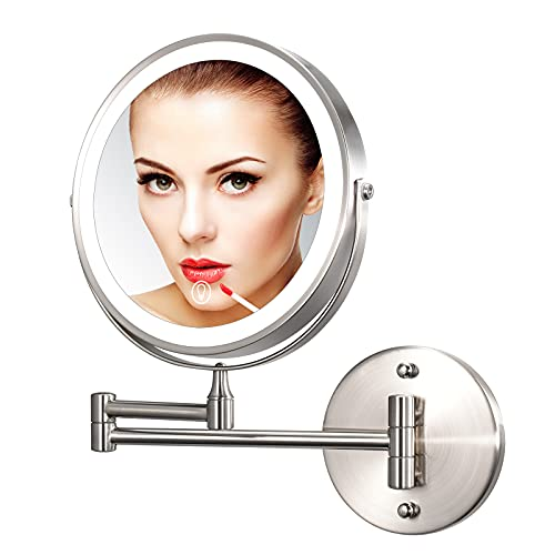Wall Mounted Lighted Makeup Mirror 8 Inch 1X 7X Magnification with 3 Color LED Lights, Rechargeable Dimmable Magnifying Vanity Mirror, Extendable Arm 360° Swivel Bathroom Mirror, Brushed Nickel