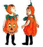 Costume zucca halloween bambino carnevale vestito vegetale colore arancione (taglia s) 2-4 anni travestimento carnevale ottimo regalo per natale o compleanno