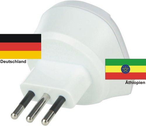 Reiseadapter Äthiopien auf Deutschland 220-230V Schukostecker Umwandlungsstecker Reisestecker Germany - Ethiopia