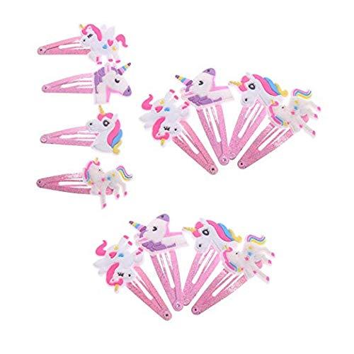 Aivivo Unicorn Elastic Hair Clips Baby Girls Hair Clips Barrettes Animal Pattern Metal Snap Hair Pins Cartoon Design Hairpins for Kids Toddlers(12 Pcs)