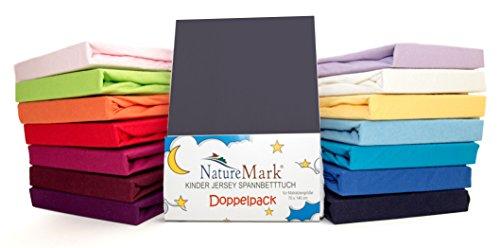 2er Sparpack Kinder Spannbettlaken Jersey 100% Baumwolle für Kinderbettmatratzen ÖKO Tex Geprüft- Gr. 70 x 140 cm, Anthrazit / Grau
