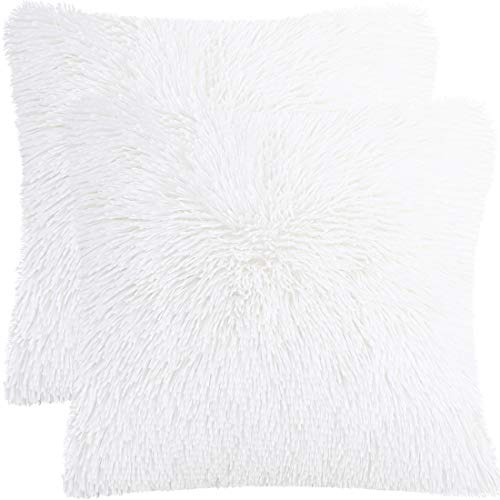 PiccoCasa Pack of 2 Soft Fuzzy Faux Fur Throw Pillow Covers, Decors Long Shaggy Cushion Covers, Soft Sofa Pillowcases for Livingroom Couch Bedroom Car Seat, 45x45cm, Snow White