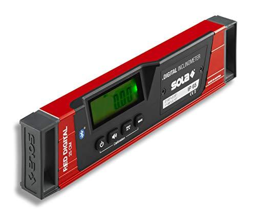 SOLA - RED 25 digital - digitale Wasserwaage mit Bluetooth - Wasserwaage digital mit LCD - Fernsteuerung über Smartphone und App - Neigungsmesser digital - IP65