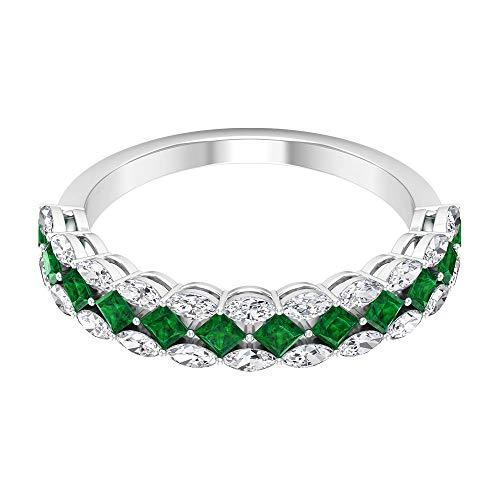 Rosec Jewels 14 quilates oro rosa talla princesa marquise-shape H-I Green Diamond Zafiro azul Leb creado
