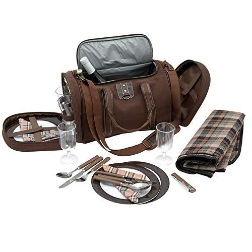 Inspirion Picknicktasche Umhängetasche Tragetasche + Zubehör 29-teilig - braun Uni