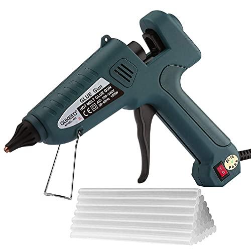 Hot Glue Gun, 100W high Temperature Heavy Duty Full Size Glue Gun kit and 30 Glue Sticks (0.43' x 8') for Office/Handcraft Decoration/Christmas Decoration/Gift (Dark Green)