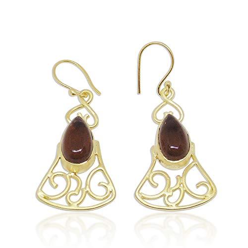 Bhagatjewels Pendientes colgantes de cuarzo ahumado natural hechos a mano con piedras preciosas delicadas