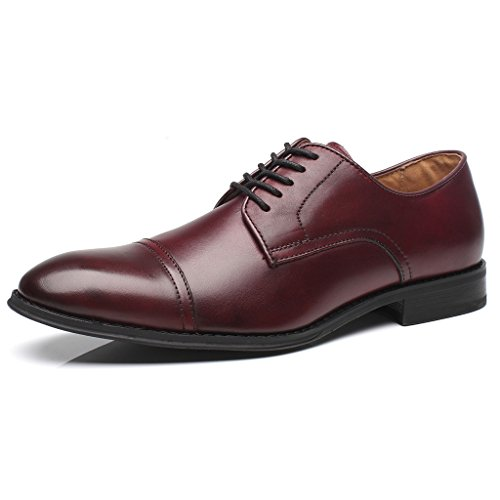 La Milano Mens Leather Updated Classic Cap Toe Oxfords Lace Dress Shoes, Burgundy, 12 D(M) US