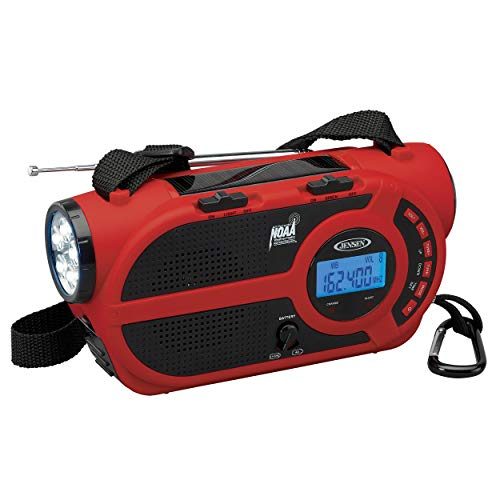 JENSEN JEP-650 AM/FM Weather Band/Weather Alert Radio with 4-Way Power, Built-in Flashlight and Emergency USB Charging