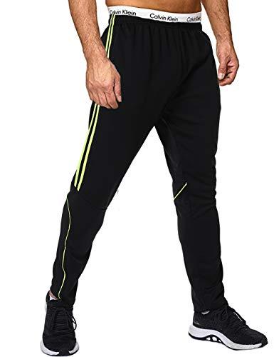 FITTOO Herren 2 Gestreift Sporthose Streifen Lange Trainingshose mit Tunnelzug Reißverschluss am Beinabschluss Jogging-Hose für Laufen Fitness Trainierung Schwarz-Grün S