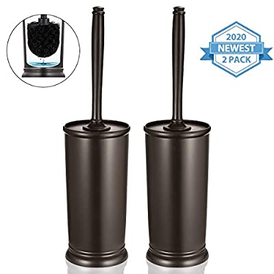Homemaxs Toilet Brush and Holder 2 Pack ?2020 Upgraded? Deep Cleaning Toilet Bowl Brush Set Ergonomic, Sturdy Bathroom Accessories Plastic (Venetian Bronze)