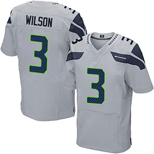 cjbaok NFL-Trikot Seattle Seahawks 3# Wilson 25# 31# Elite Edition Besticktes Fußballtrikot-T-Shirt Sport-Kurzarmshirt,Gray-3,S
