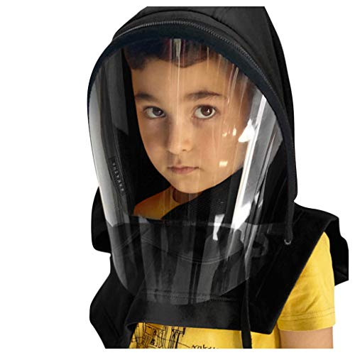 Anti UV Sun Hat Full Face Hood Shawl Caps Kids Neck Gaiter Breathable Windproof Scarf Dust Helmet with Large Viewing Screen,Against Coughing & Sneezing Anti Dust Face Bandanas (Black)