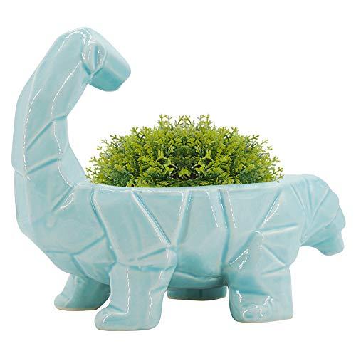 GeLive Blue Dinosaur Ceramic Succulent Plant Pot with Draining Hole, Fun Cartoon Animal Planter, Flower Container, Windowsill Box, Home Accent Decor, Decorative Organizer