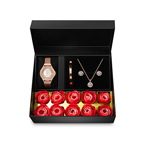 Watches Sets Gifts for Women, Rose Gold Watch Set Necklace Earring Bracelet 4 Pieces Jewelry Set for Mom Wife Girlfriend Anniversary Birthday Christmas Valentine's Day Gifts