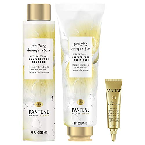 Price comparison product image Pantene Shampoo & Conditioner + Rescue Shot Treatment,  with Castor Oil,  Nutrient Blends Fortifying Damage Repair,  Sulfate Free
