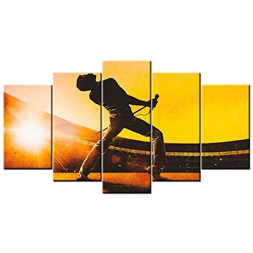 Quadri su Tela 5 Pezzi Freddie Mercury Wall Art Bohemian Rhapsody Canvas Print Poster HD Immagini modulari per Arredamento Camera da LettoLetto, B, 20x35x2 20x45x2 20x55x1