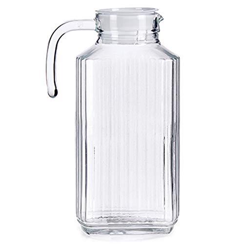 MGE - Jarra de Vidrio para Agua con Tapa - Jarra de Vidrio para Frigorífico - Botella para Té, Zumo de Frutas, Limonada - Botella Transparente - 1,8 L