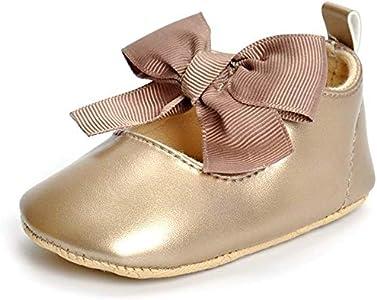 Estamico Zapatos Primeros Pasos bebé Ballet niñas Oro 0-6 Meses