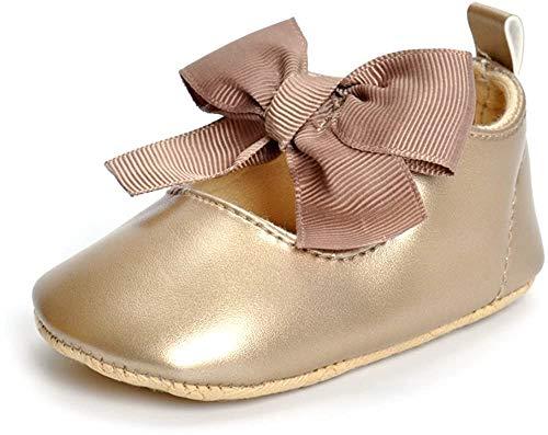 ESTAMICO Baby Mädchen rutschfest Weiche Leder Bowknot Taufschuhe Kleinkind Sneaker, 6-12 Monate ( hersteller größe: 2 ), Golden