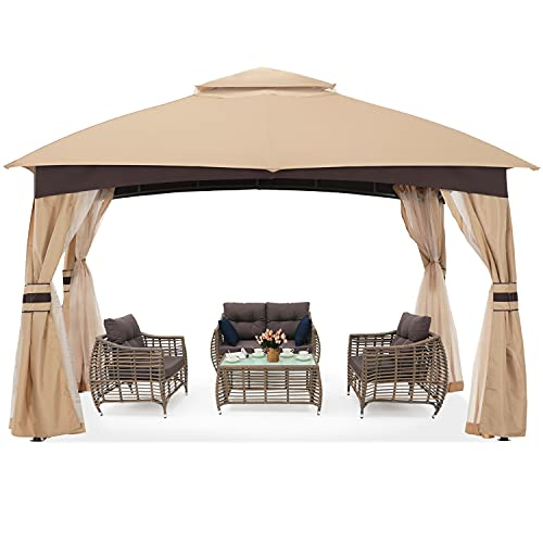 ABCCANOPY High Grade Gazebos for Patio 10x12 with Mosquito Netting (Beige)